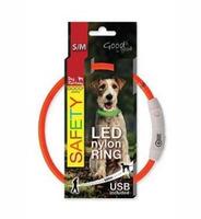 Obojek svítící nylon Dog Fantasy USB 45cm oranžový